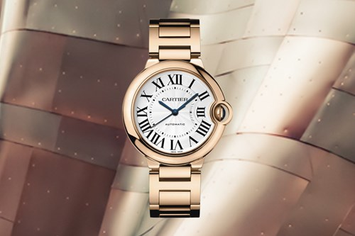 The rose gold Cartier Ballon Bleu