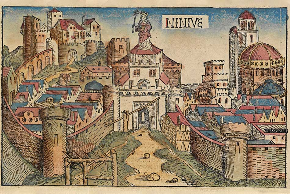 Picture of the antique town of Niniveh in the Nuremberg Chronicle of 1493